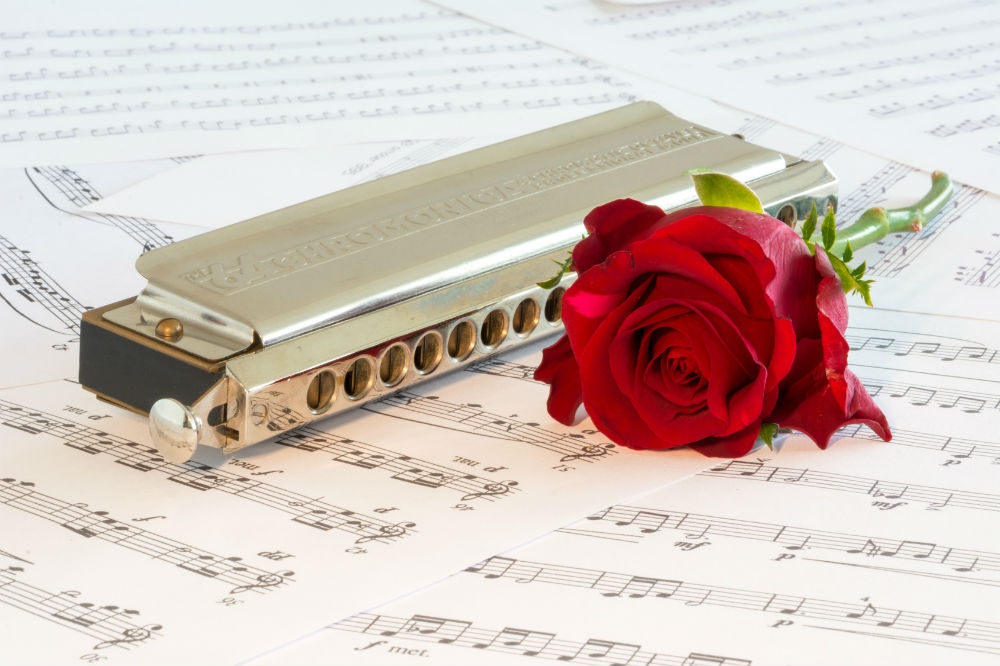 The best harmonicas main photo of a harmonica on sheet music next to a rose